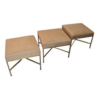Paul McCobb for Directional Brass Ottomans- Set of 3 For Sale