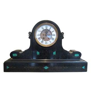 1860s Brocot & Delettrez Style Carved Black Slate Clock For Sale