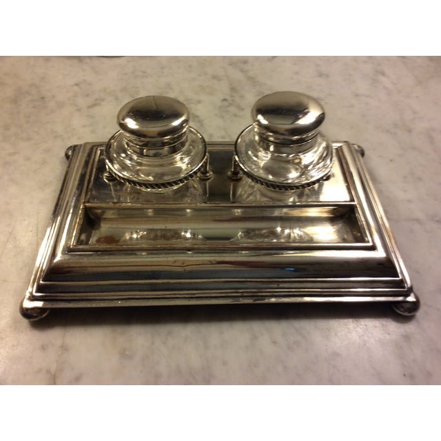 Silver Early 20th Century Sheffield Silver Plate and Crystal Inkwell For Sale - Image 8 of 8