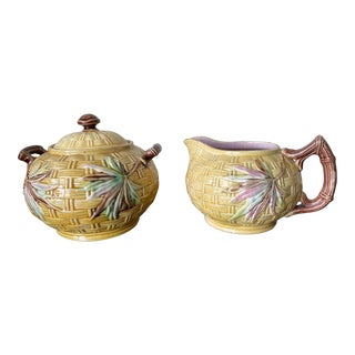 English Majolica Banks & Thorley Basketweave & Faux Bamboo Cream & Sugar Set- 2 Pieces For Sale