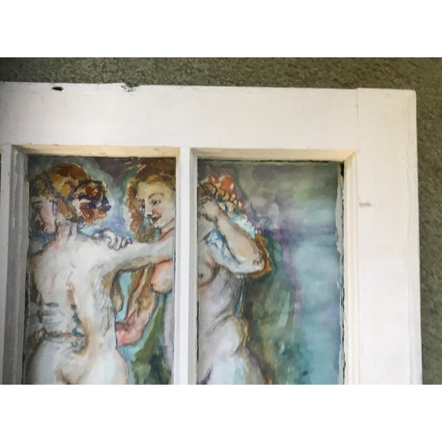 'The Three Graces' Original Watercolor Painted Framed Windows - Set of 3 For Sale - Image 10 of 13