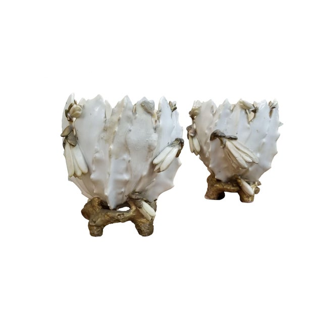 19th Century French Porcelain Cache Pots - a Pair For Sale In Dallas - Image 6 of 7
