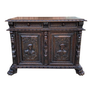 Antique French Gothic Sideboard Server For Sale