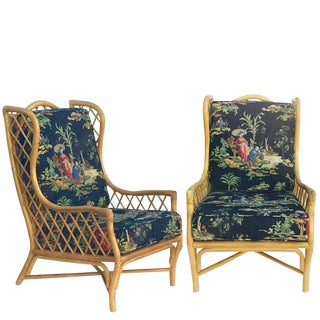 Mid Century Modern Bamboo Wingback Chairs Sculpted Bamboo Arm Chairs - a Pair