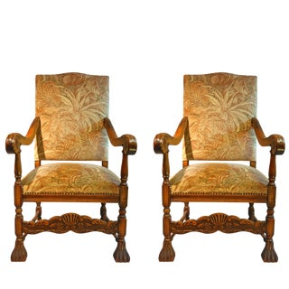Early 20th Century English High Back Carved Elm Armchairs - A Pair For Sale