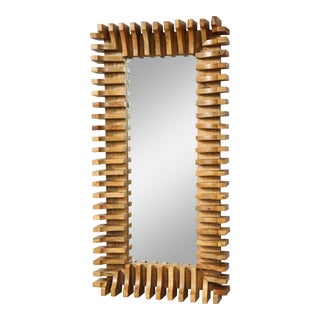 Unusual Slatted Wooden Mirror For Sale