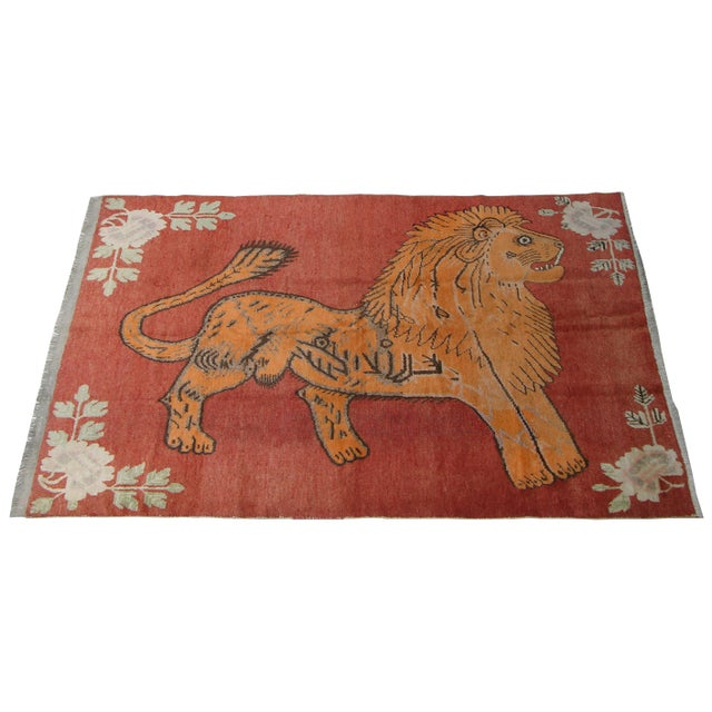 Early 19th Century 19th Century Antique Uzbek Samarkand With Lion Design - 6'4'X4'5ft For Sale - Image 5 of 6