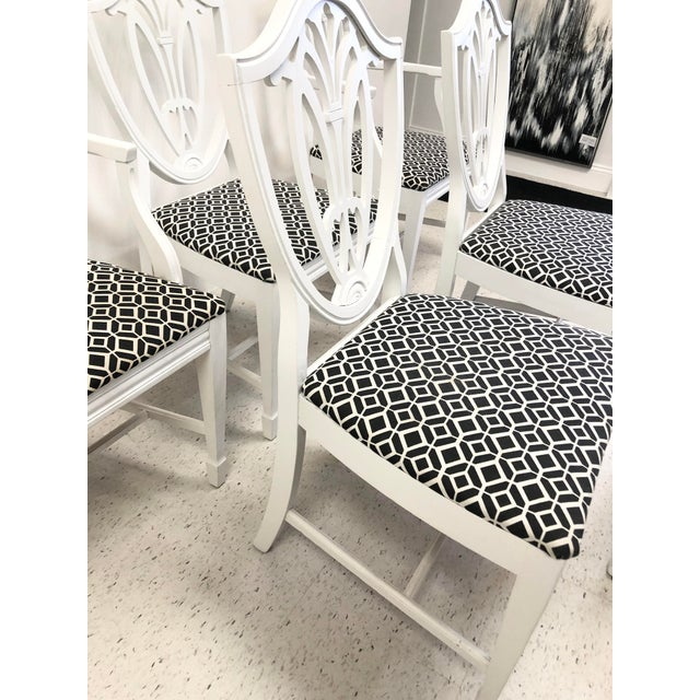 1950s Bernhardt Chippendale Style White Lacquered Dining Chairs - Set of 6 For Sale - Image 5 of 9