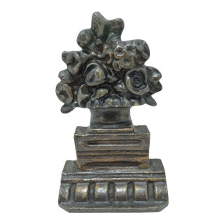 Antique Victorian Cast Iron Flower Basket Door Stop Bookend Sculpture For Sale