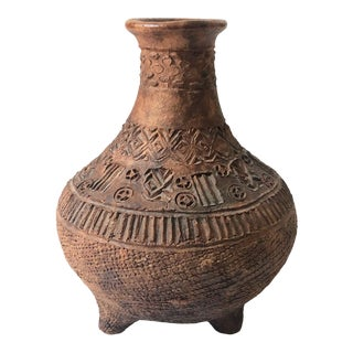 Large Vintage Hand Carved Terra Cotta Vase on a Tripod Base For Sale