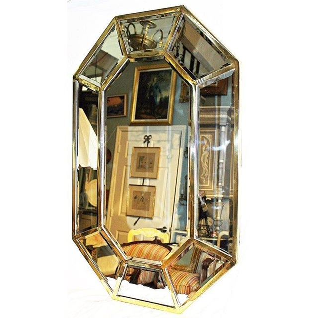 Modern Brass Beveled Mirror-On-Mirror For Sale - Image 3 of 8