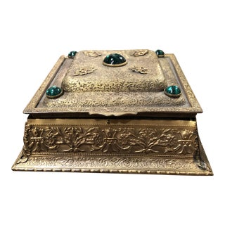 La Tausca French Pearl Box With 5 Green Cabochons For Sale