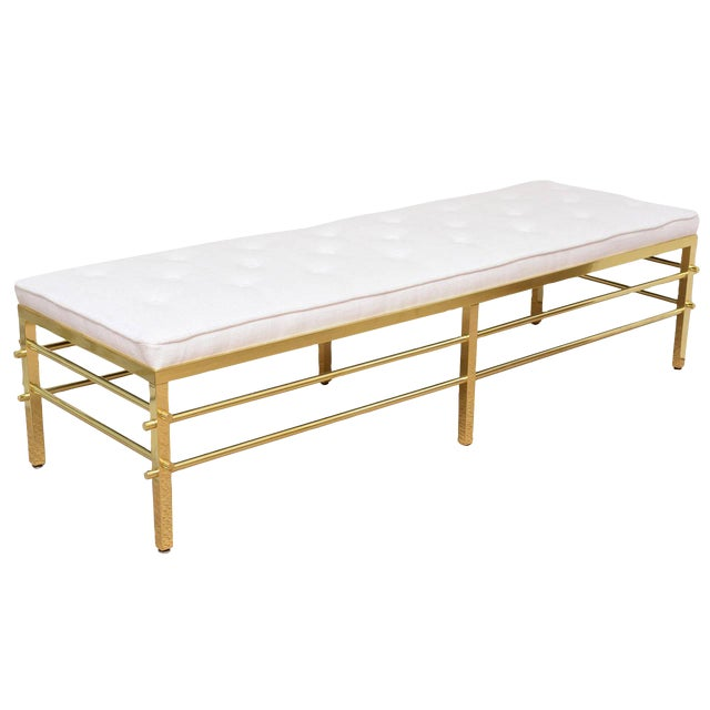 Stunning Tommi Parzinger Style Solid Brass and Upholstered Rare Modernist Bench - Image 1 of 9