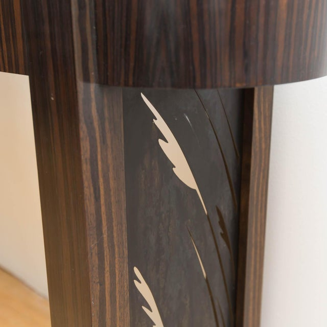 Metal Macassar Ebony and Patinated Steel Console Table by Gregory Clark For Sale - Image 7 of 8