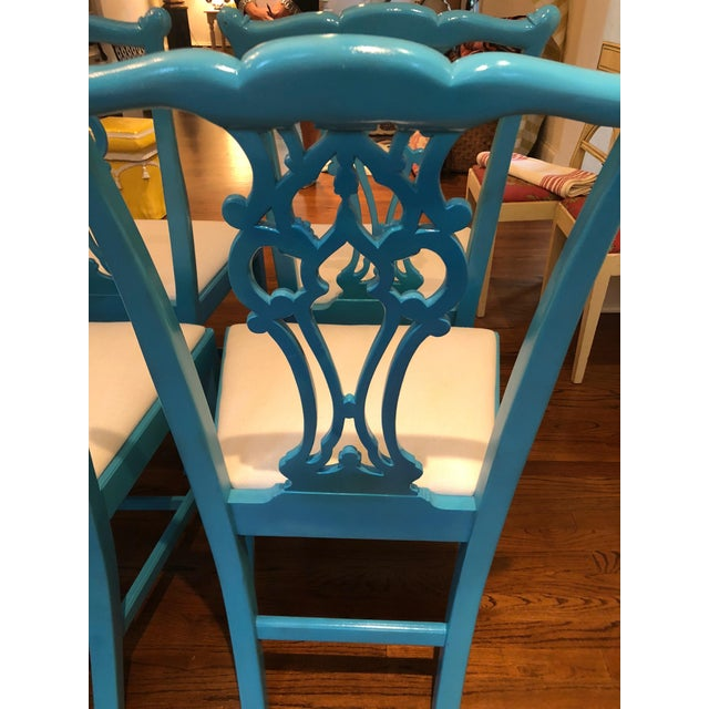 Wood 1950s Vintage Laquered Carved Wood Dining Chairs - Set of 8 For Sale - Image 7 of 13