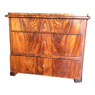 Early 19th Century Biedermeier Flame Mahogany Chest For Sale