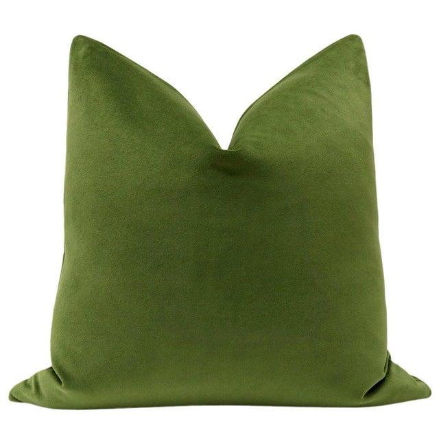 Beautiful pair of custom-made 100% cotton velvet designer pillows in a peridot green. Same sided, knife edge finish,...