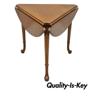 Vintage Statton Trutype Cherry Wood Drop Leaf Queen Anne Side Table Preview