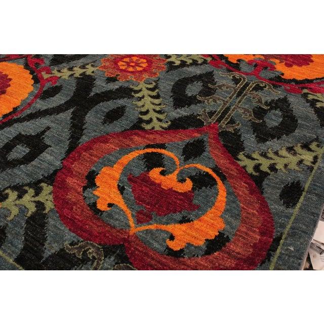 2010s Kafkaz Peshawar Zack Gray/Blue Wool Rug - 7'10 X 10'3 For Sale - Image 5 of 8