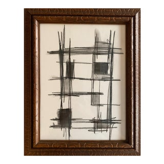 Original Abstract Charcoal Drawing in Vintage Carved Wood Frame For Sale
