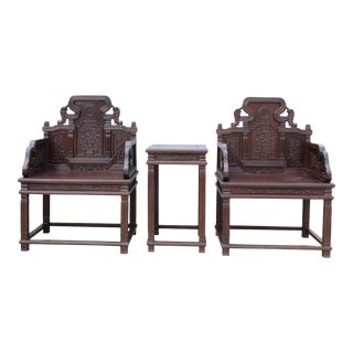 Chinese Huali Brown Rosewood Carved Armchair Set