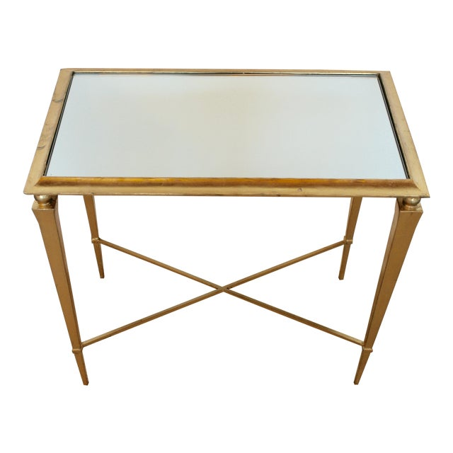 Gold Leaf Mirrored Side Table For Sale