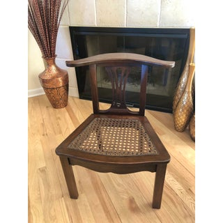 Vintage Lamp Hanger Yoke Back Cane Seat Accent Chair Preview