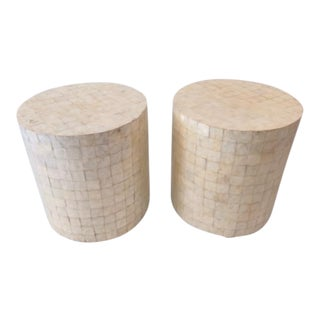 1980s Boho Chic Mother of Pearl Drum Side Tables - a Pair For Sale