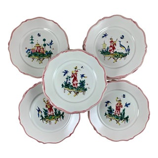 Set / 12 Pierre Motton, Gien Faïence Chinoiserie Plates for Tiffany & Co. For Sale