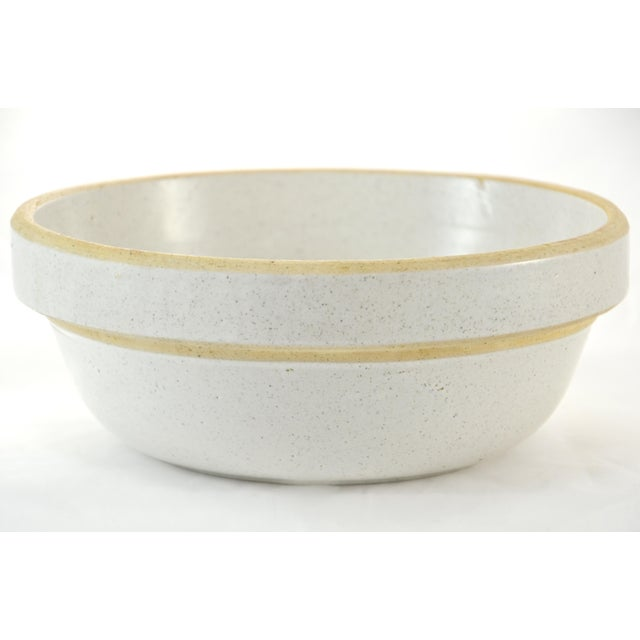 Early 20th Century Rustic Yellow Ware Pottery Farmhouse Bowl For Sale - Image 5 of 5