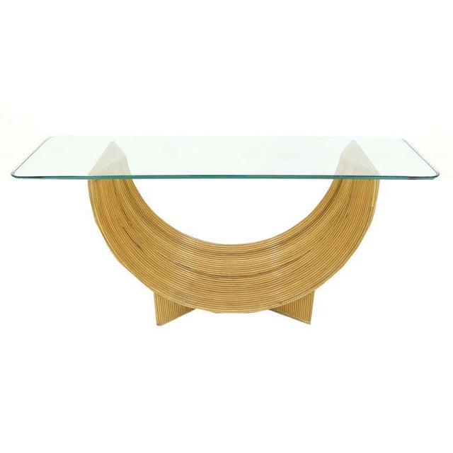 Mid-Century Modern Midcentury Rattan U Shape Base Glass Top Console Sofa Table For Sale - Image 3 of 8