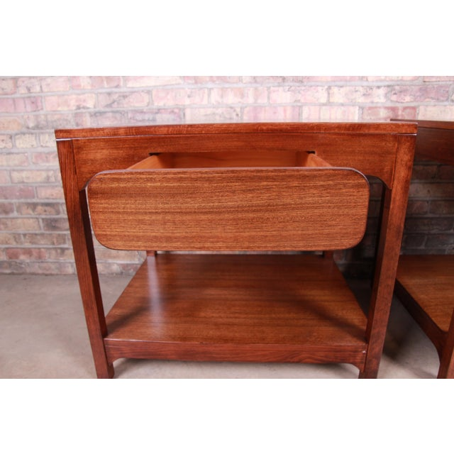Edward Wormley for Drexel Precedent Mid-Century Modern Nightstands or End Tables, Newly Refinished For Sale - Image 9 of 13
