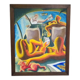 Vintage Mid-Century Fantasy Car Trip Abstract Oil on Canvas Painting For Sale
