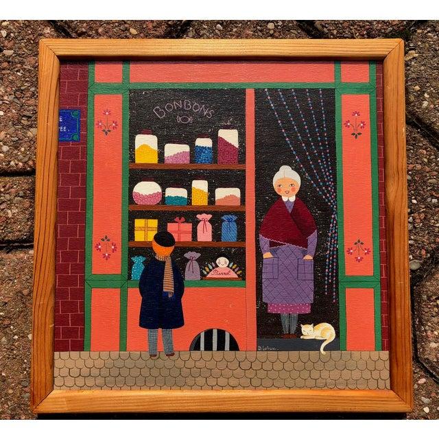 Mid-Century Painting - La Marchande De Bonbons by Dominique LeFranc 1979 For Sale - Image 10 of 10