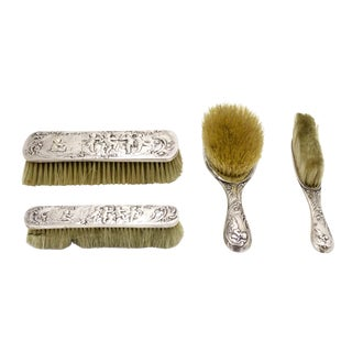 French Louis XV Silver Vanity Brush Set For Sale
