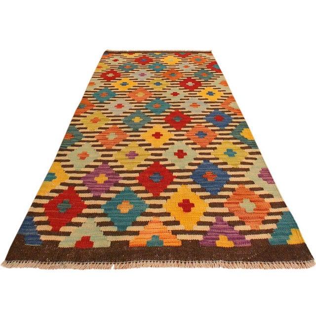 Art Deco Kilim Arya Liriene Ivory/Brown Wool Rug -2'6 X 4'2 For Sale - Image 3 of 8