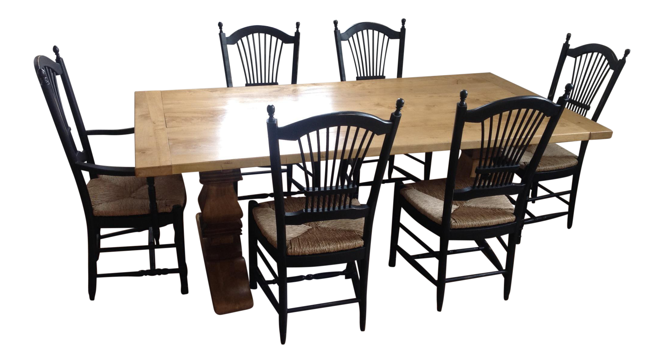 French Country Farm Style Trestle Table With Windsor Back Chairs For Sale