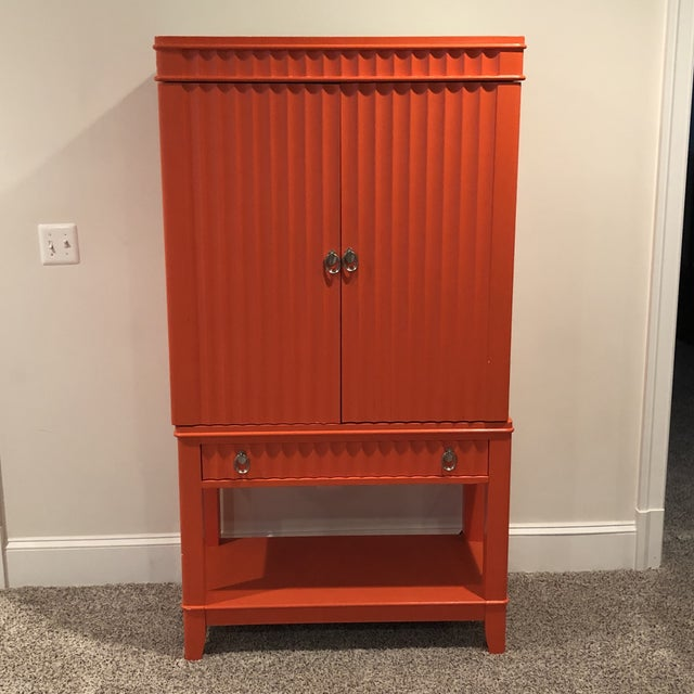 Art Deco Orange Painted Bar Cabinet For Sale - Image 13 of 13
