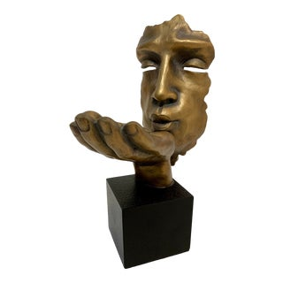 1980's Modernist Surreal Man Kiss Sculpture - For Sale