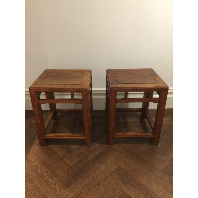 Brown 19th Century Chinese Jia Zhen and Beech Half Stools - a Pair For Sale - Image 8 of 8