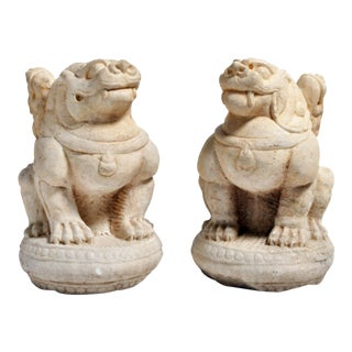 Carved Marble Fu Dogs on Pedestals - a Pair For Sale