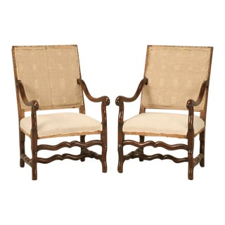 Classic Antique French Os de Mouton Solid Oak Throne Chairs - a pair For Sale