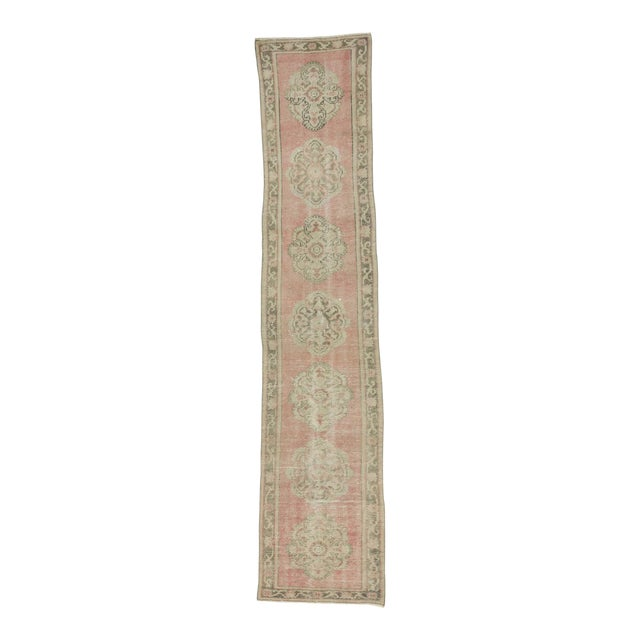 Vintage Worn Out Turkish Oushak Runner Rug - 2′5″ × 11′2″ - Image 1 of 6