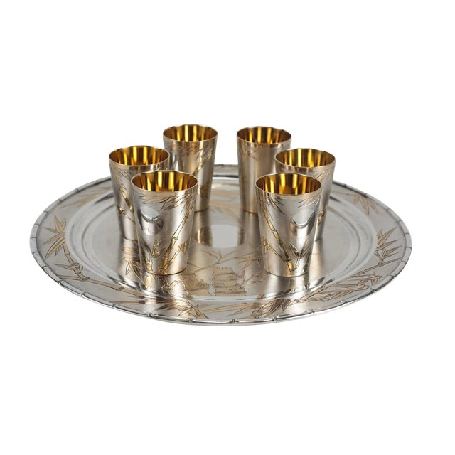 Japanese Gilt 800 Solid Silver Sake Tray and Cups For Sale