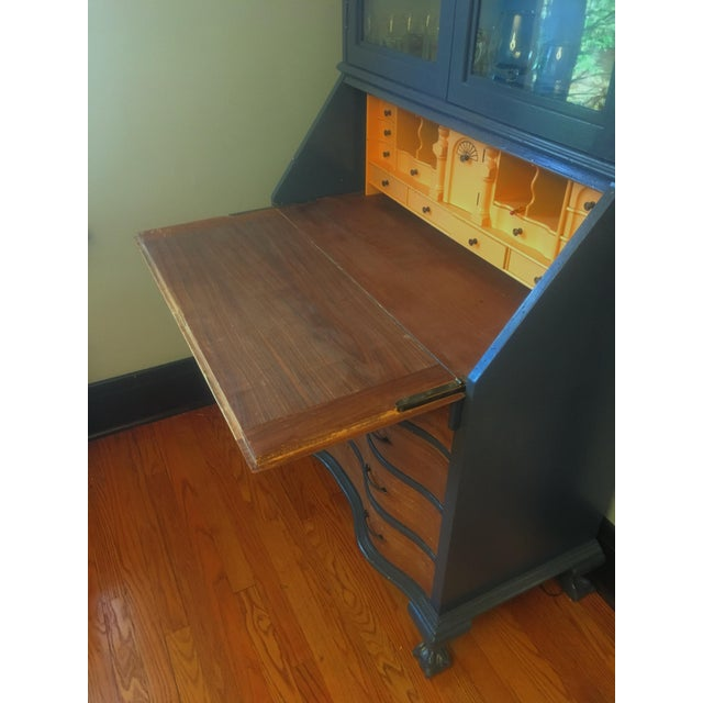 Blue 19th Century Chippendale Slant Front Mahogany Maddox Secretary Desk For Sale - Image 8 of 11
