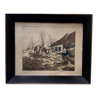 "Early 20th Century Antique W. Landsman ""Country Life"" Hand-Colored Lithograph Print For Sale"