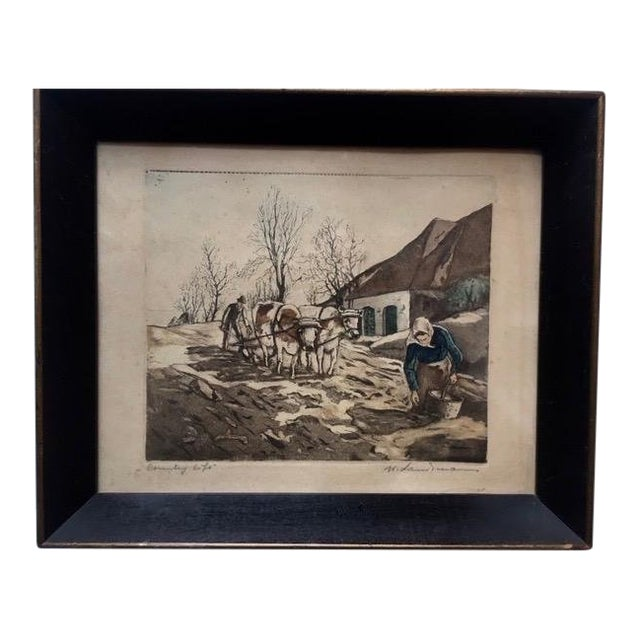 """Early 20th Century Antique W. Landsman """"Country Life"""" Hand-Colored Lithograph Print For Sale"""
