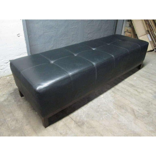 Early 20th Century Large Scale Leather Tufted Bench For Sale - Image 5 of 5