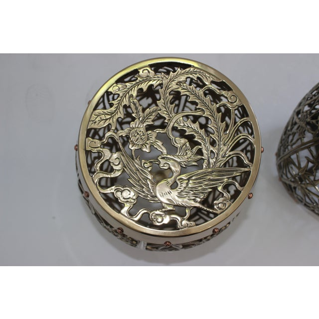 Garden Stools Bamboo Crane Bird Cherry Blossom Motif in Polished Brass Fretwork - a Pair For Sale In West Palm - Image 6 of 11
