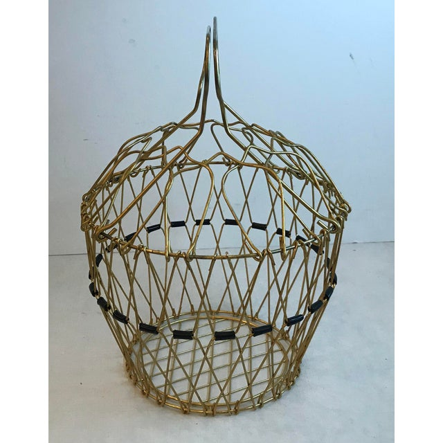 Mid Century Folding Wire Basket For Sale - Image 10 of 10
